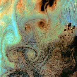 Von Karman vortices, Alaska's Aleutian Islands. Pacific Ocean